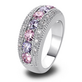 Engagement Ring - Passione Bianco & Rosa - Pink & White Sapphire Silver Ring - LA MIA CARA JEWELRY