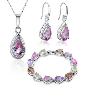 Passione Rosa -  Pink Passion White Gold Necklace & Bracelet & Earrings Set - LA MIA CARA JEWELRY