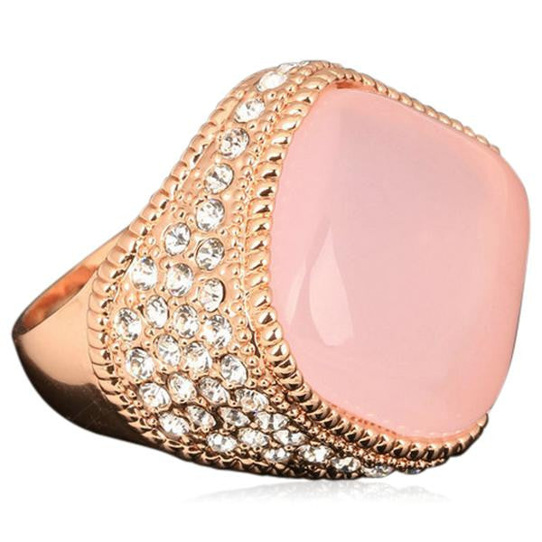 Cocktail Ring -Passione Rosa Opale - Luxury Large Pink Opal & CZ Diamond  Rose Gold Ring - LA MIA CARA JEWELRY