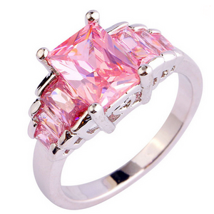 Cocktail Ring -Passione Rosa - Romantic Love Emerald Cut Pink Topaz Silver Ring - LA MIA CARA JEWELRY