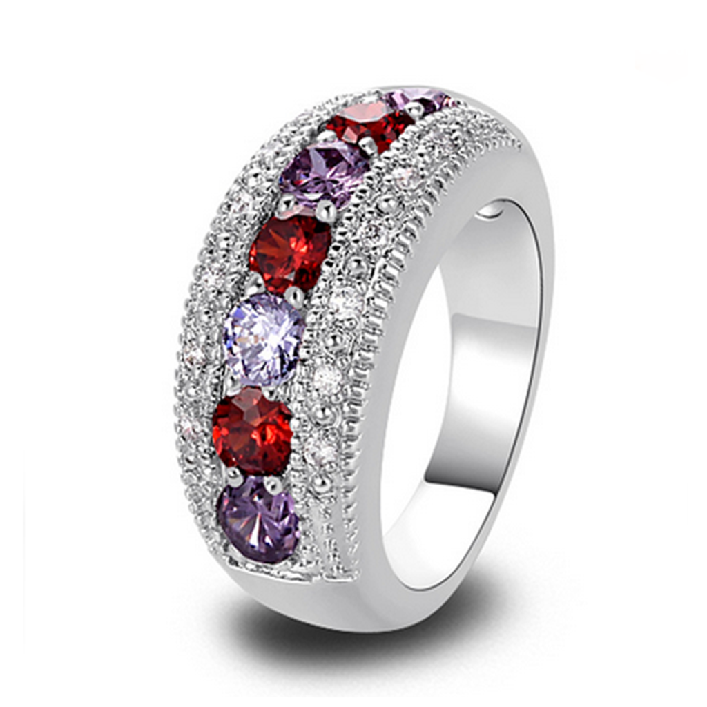 Engagement Ring -Passione Rosso & Viola - Red Garnet & Purple Amethyst  Silver Ring - LA MIA CARA JEWELRY