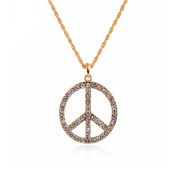 Pax - Rhinestone Crystals Gold Peace Pendant Long Necklace - LA MIA CARA JEWELRY