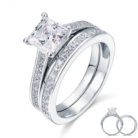 LA MIA CARA JEWELRY - CZ Diamond Ring Princess Cut Engagement Set