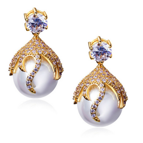 Perla Alessia - CZ Diamonds Gold / Platinum Drop Earrings - LA MIA CARA JEWELRY - 1
