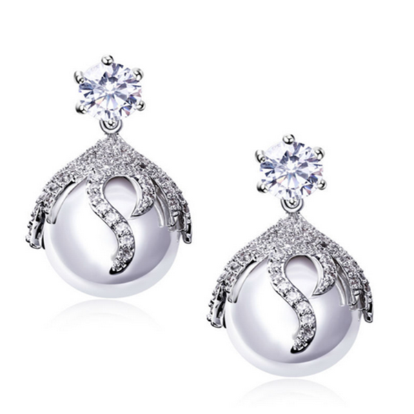 Perla Alessia - CZ Diamonds Gold / Platinum Drop Earrings - LA MIA CARA JEWELRY - 2
