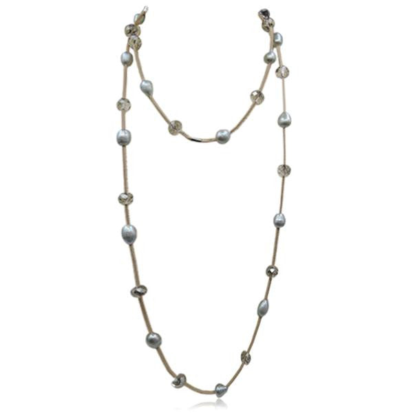 Perla Alia - Freshwater Pearls & Bead on Leather Long Necklace - LA MIA CARA JEWELRY - 2