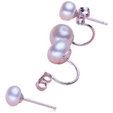Perla Allegra - Freshwater Pearl Sterling Silver Double Sided Earrings - LA MIA CARA JEWELRY - 5
