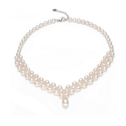 Perla Bambolina - Button shape Freshwater Pearl Sterling Silver Necklace - LA MIA CARA JEWELRY