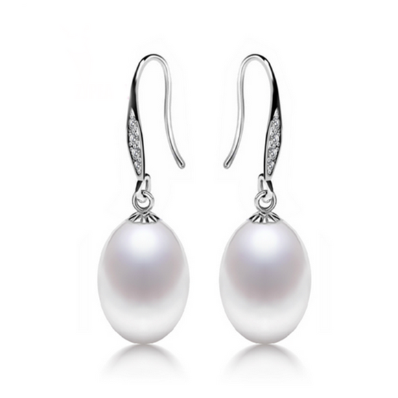 Perla Bianca - Freshwater Pearl Sterling Silver Angle Tear Earrings - LA MIA CARA JEWELRY - 1