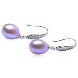 Perla Bianca - Freshwater Pearl Sterling Silver Angle Tear Earrings - LA MIA CARA JEWELRY - 2