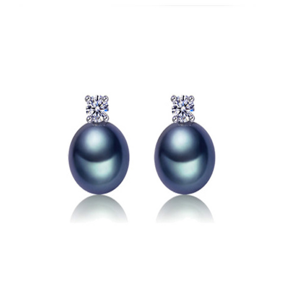 Perla Carlotta - CZ Diamonds Freshwater Pearl Sterling Silver Stud Earrings - LA MIA CARA JEWELRY - 1