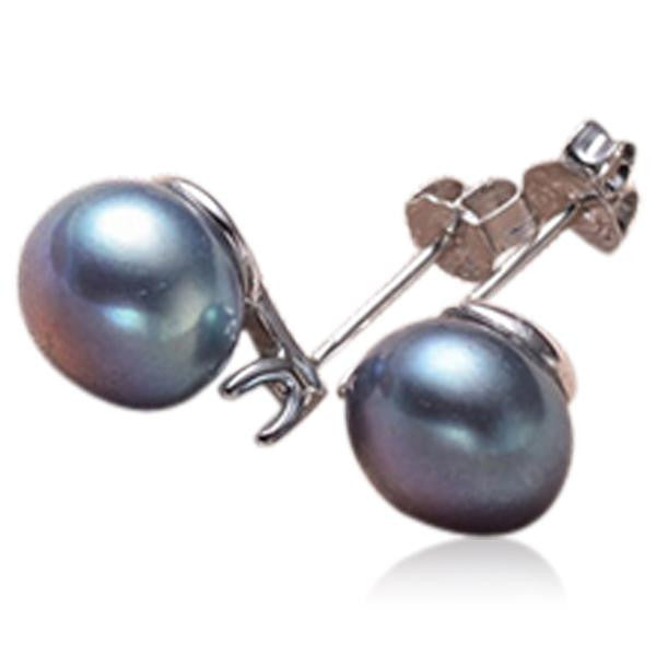 Perla Carlotta - CZ Diamonds Freshwater Pearl Sterling Silver Stud Earrings - LA MIA CARA JEWELRY - 2