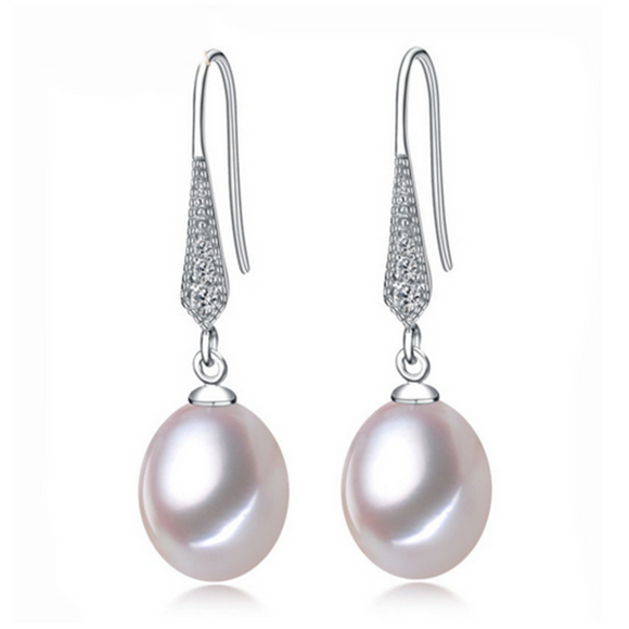 Perla Cinderella - Freshwater Pearls Sterling Silver Teardrop Earrings - LA MIA CARA JEWELRY - 1
