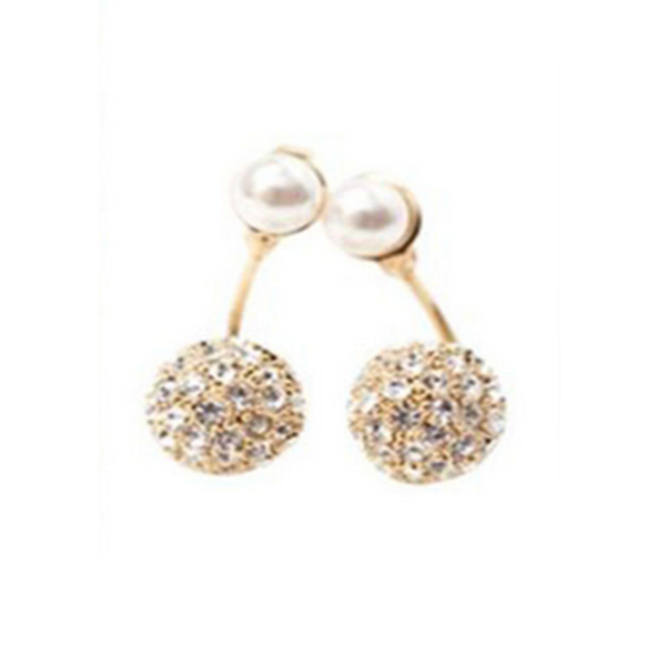 La Mia Cara Jewelry & Accessories - Perla Doppia Palla - Pearl & Crystal Rhinestone Gold/ Silver Stud Earrings