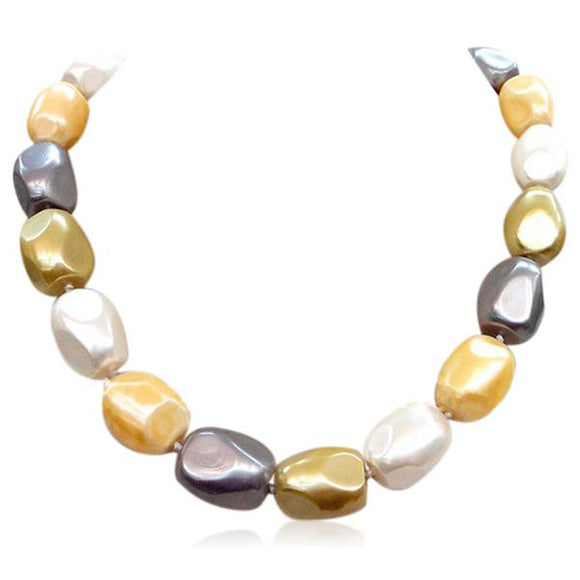 Perla Faustino - Large  Multicolor South Sea Shell Pearl Necklace - LA MIA CARA JEWELRY