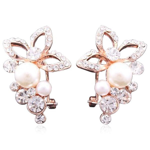 La Mia Cara Jewelry & Accessories - Perla Fiore - Rhinestone Crystal Rose Gold Stud Earrings