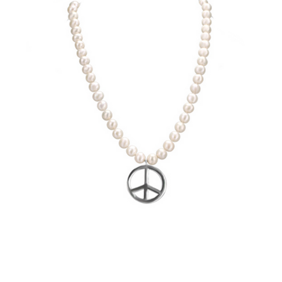 Perla Gilda - Peace Sign Natural Pearl Necklace - LA MIA CARA JEWELRY - 1