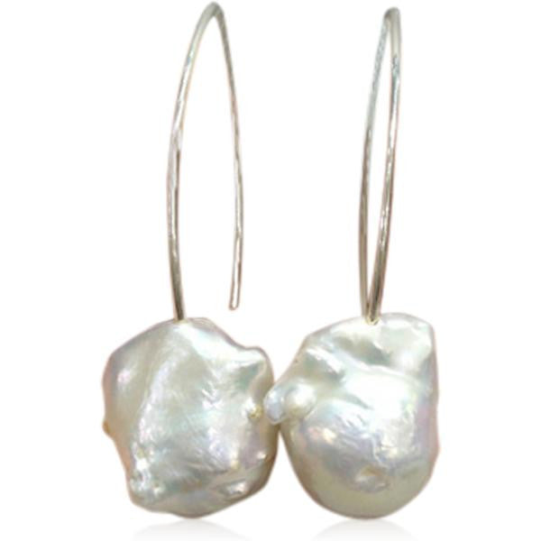 Perla Grande - Big Baroque Pearl Sterling Silver Drop Earrings - LA MIA CARA JEWELRY - 1