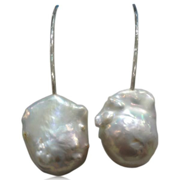 Perla Grande - Big Baroque Pearl Sterling Silver Drop Earrings - LA MIA CARA JEWELRY - 2