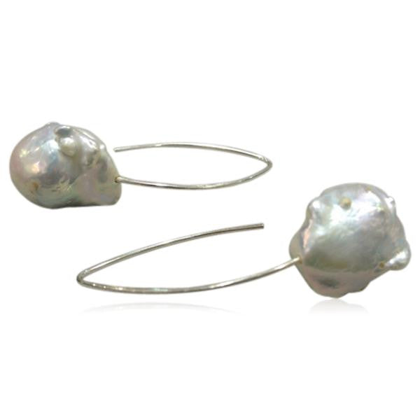 Perla Grande - Big Baroque Pearl Sterling Silver Drop Earrings - LA MIA CARA JEWELRY - 3