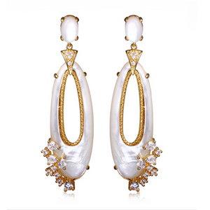 Perla Lorena - Madreperla CZ Diamonds Gold / Platinum Dangles Earrings - LA MIA CARA JEWELRY - 1
