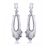 Perla Lorena - Madreperla CZ Diamonds Gold / Platinum Dangles Earrings - LA MIA CARA JEWELRY - 2