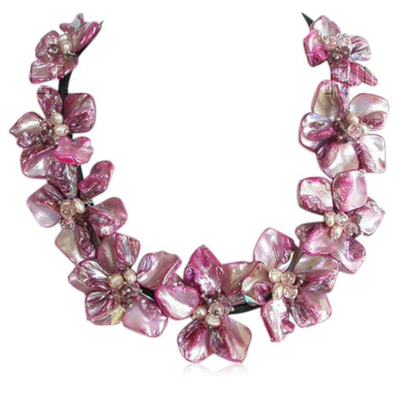 Perla Marcella - Baroque Pink Seashell Pearls & Crystal Choker Leather Necklace - LA MIA CARA JEWELRY