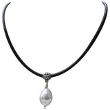 Perla Mattea - White South Sea Shell Pearl Silver Pendant  Leather Necklace - LA MIA CARA JEWELRY - 1
