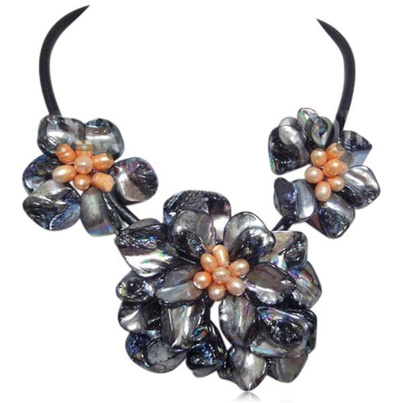 La Mia Cara - Perla Mirabella - Blue Shell Flower Cultured Pearl Necklace Leather