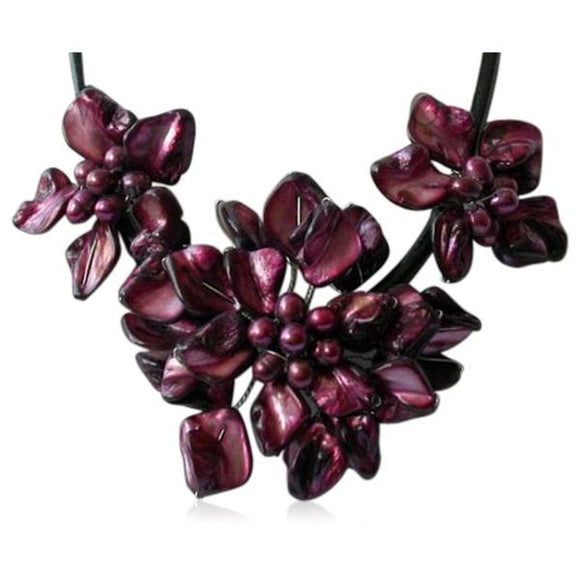 La Mia Cara - Perla Mirabella - Purple Shell Flower Cultured Pearl Necklace Leather