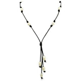 Perla Nelli - White Freshwater Pearls Black Leather Necklace - LA MIA CARA JEWELRY