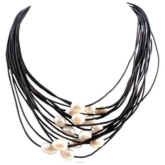 La Mia Cara Jewelry - Black Perla Nelly - 15 Rows of Freshwater Pearls Leather Necklace