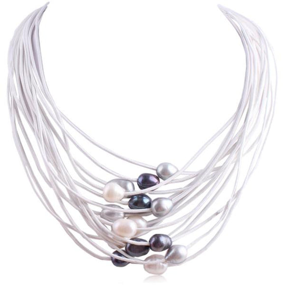 La Mia Cara Jewelry - White Dark- Perla Nelly - 15 Rows of Freshwater Pearls Leather Necklace