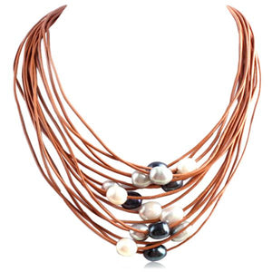La Mia Cara Jewelry - Brown- Multi -Perla Nelly - 15 Rows of Freshwater Pearls Leather Necklace