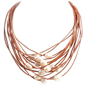 La Mia Cara Jewelry - Brown- White - Perla Nelly - 15 Rows of Freshwater Pearls Leather Necklace
