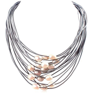 La Mia Cara Jewelry - Gray -White -Perla Nelly - 15 Rows of Freshwater Pearls Leather Necklace
