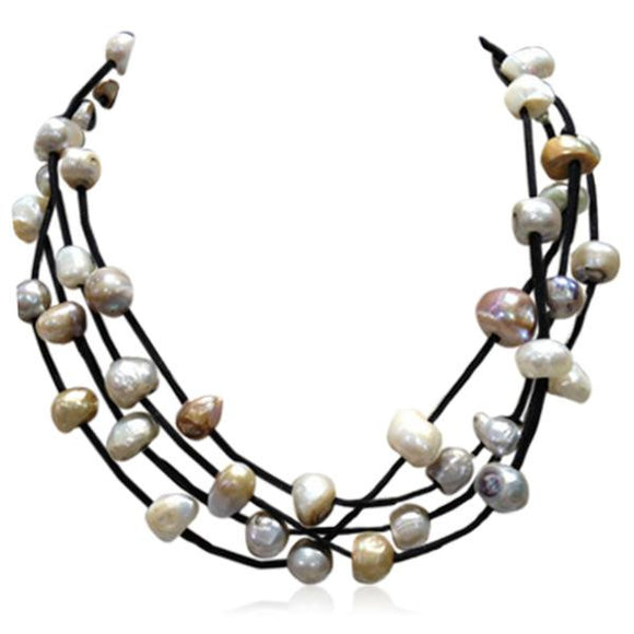La Mia Cara Jewelry - Black Perla Nikola - Multilayer Baroque Freshwater Pearls Leather Necklace