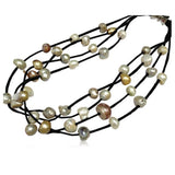 Perla Nikola - Multilayer Baroque Freshwater Pearls Leather Necklace - LA MIA CARA JEWELRY - 4