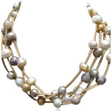 Perla Nikola - Multilayer Baroque Freshwater Pearls Leather Necklace - LA MIA CARA JEWELRY - 3