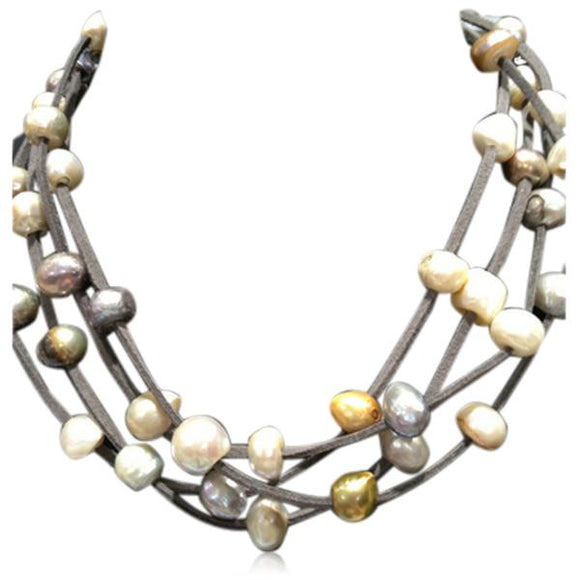 La Mia Cara Jewelry - Perla Nikola Gray - Multilayer Baroque Freshwater Pearls Leather Necklace