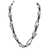 Perla Nina - Baroque Freshwater Pearl Leather Necklace - LA MIA CARA JEWELRY - 1