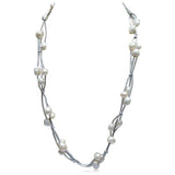Perla Nina - Baroque Freshwater Pearl Leather Necklace - LA MIA CARA JEWELRY - 2