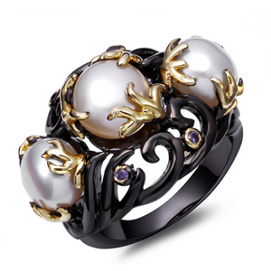 Statement Ring - Perla Oana - Amethyst IP Black Gold Ring - La Mia Cara Jewelry