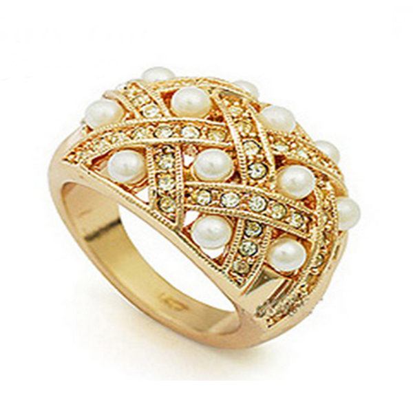 Cocktail Ring - Perla Ornato - CZ Diamond Gold Ring - LA MIA CARA JEWELRY