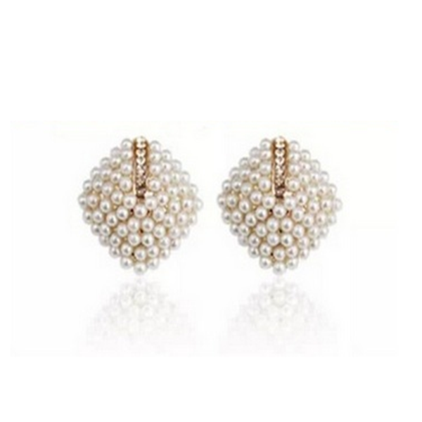 La Mia Cara Jewelry & Accessories  - Perla Piazza - Pearl Square & Rhinestone Stud Earrings