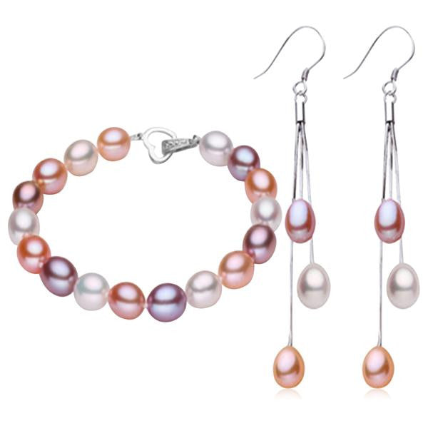 Perla Priscilla - Freshwater Pearls Sterling Silver Earrings & Bracelets Set - LA MIA CARA JEWELRY