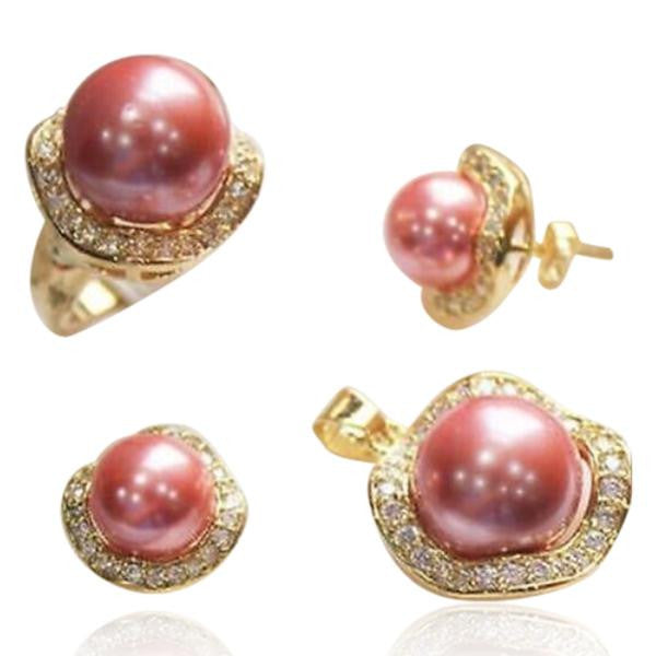 Perla Romantico - Crystal Pink Freshwater Pearl Gold Ring & Pendant & Earrings Set - LA MIA CARA JEWELRY