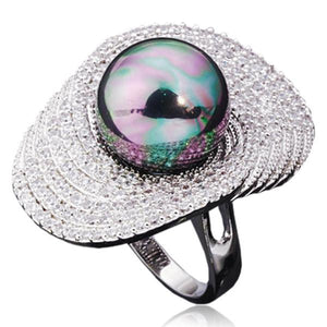 Statement Ring -Perla Tahiti - Big Shell Pearl & CZ Diamonds Platinum Ring - LA MIA CARA JEWELRY