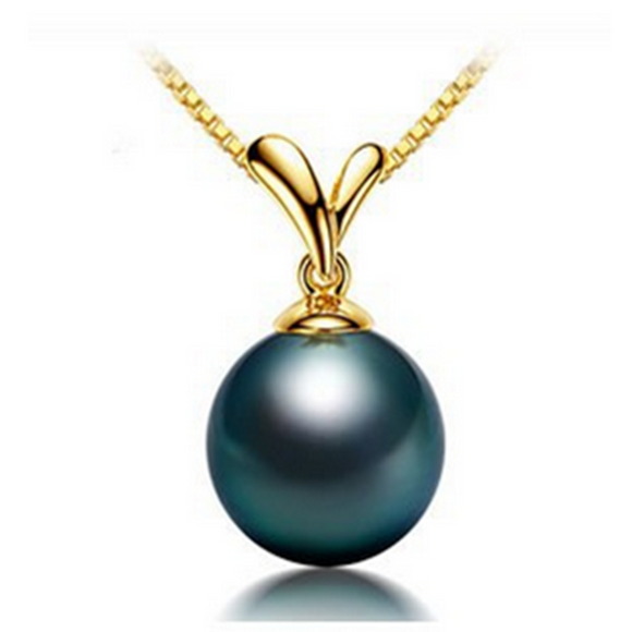 La Mia Cara Jewelry - Perla Tahiti - Black Tahitian Pearl Yellow Gold Pendant Necklace
