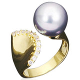 Statement Ring -Perla Venezia - 8 Variants of Pearl & CZ Diamond Gold / Platinum Ring - LA MIA CARA JEWELRY